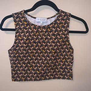 WAYF Monkey Print Knit Crop Tank